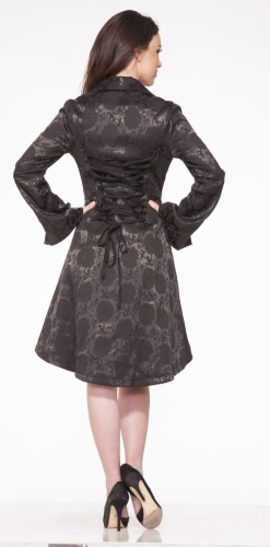 0303 Black Button Up Flower Print Coat 1