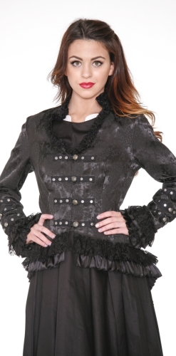 0919 Black Brocade Gloria Tail Jacket (3)