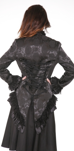 0919 Black Brocade Gloria Tail Jacket (4)