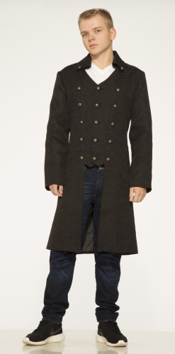 4011 Men's Brocade Lace Up Coat