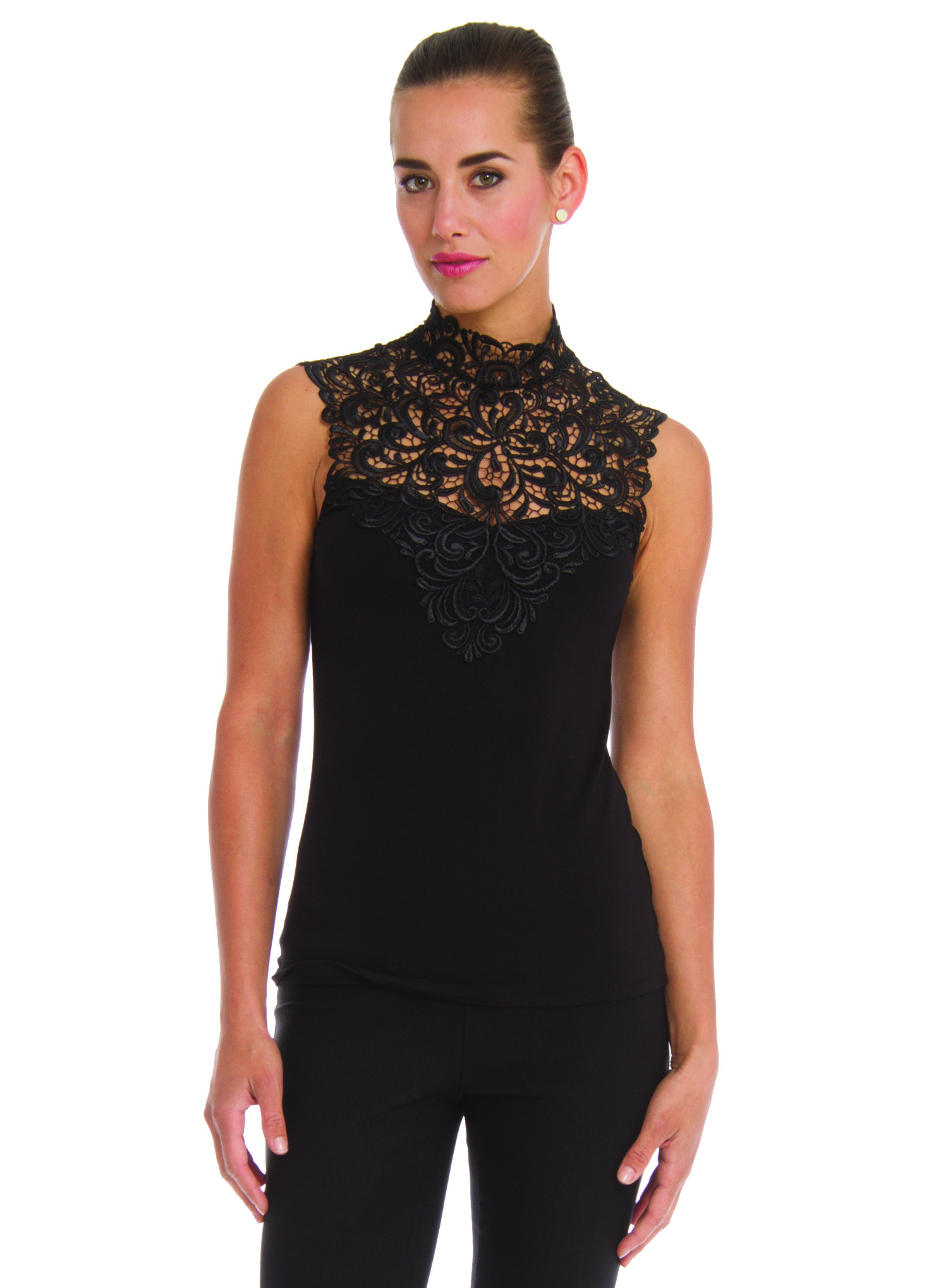 This high neckline cami with stretchable lace trim on top and bottom will fit you and your wardrobe perfectly. Accurate fit, order your normal size.